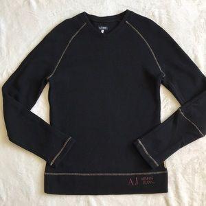 Armani jeans black v neck sweatshirt size large
